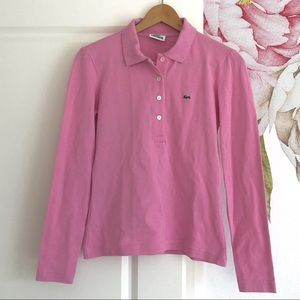 Lacoste Basic Pink Polo Longsleeve w/ Collar